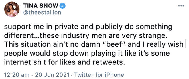 Megan Thee Stallion seemingly addresses DaBaby's retweet.