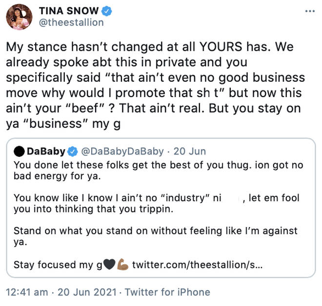 Megan Thee Stallion claps back at DaBaby