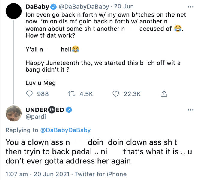 Megan Thee Stallion's boyfriend Pardison Fontaine comes to her defence in her beef with DaBaby.