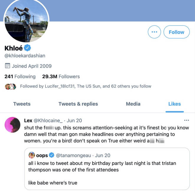 Khloe Kardashian 'likes' tweet of fan defending Tristan Thompson and their daughter, True.
