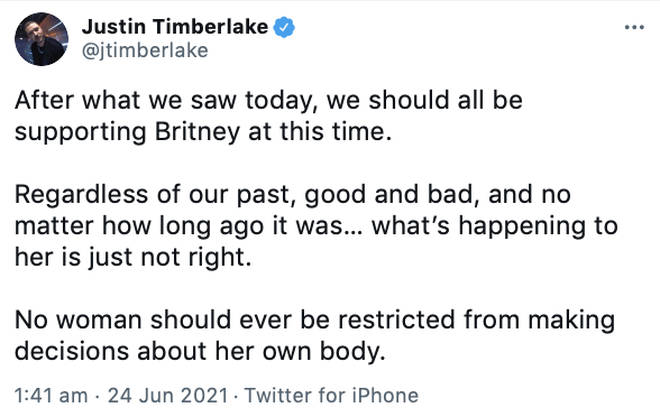 Justin Timberlake speaks out on Britney Spears conservatorship case.