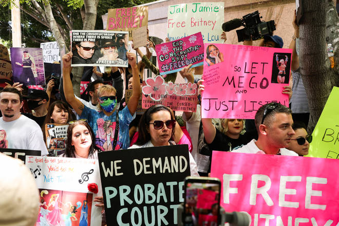 #FreeBritney rallies have been taking place in the US following the conservatorship hearing.