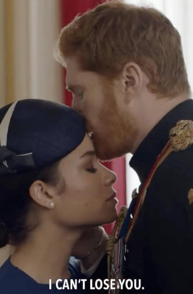Actors Jordan Dean (Prince Harry) and Sydney Morton (Meghan Markle) portray the couple.