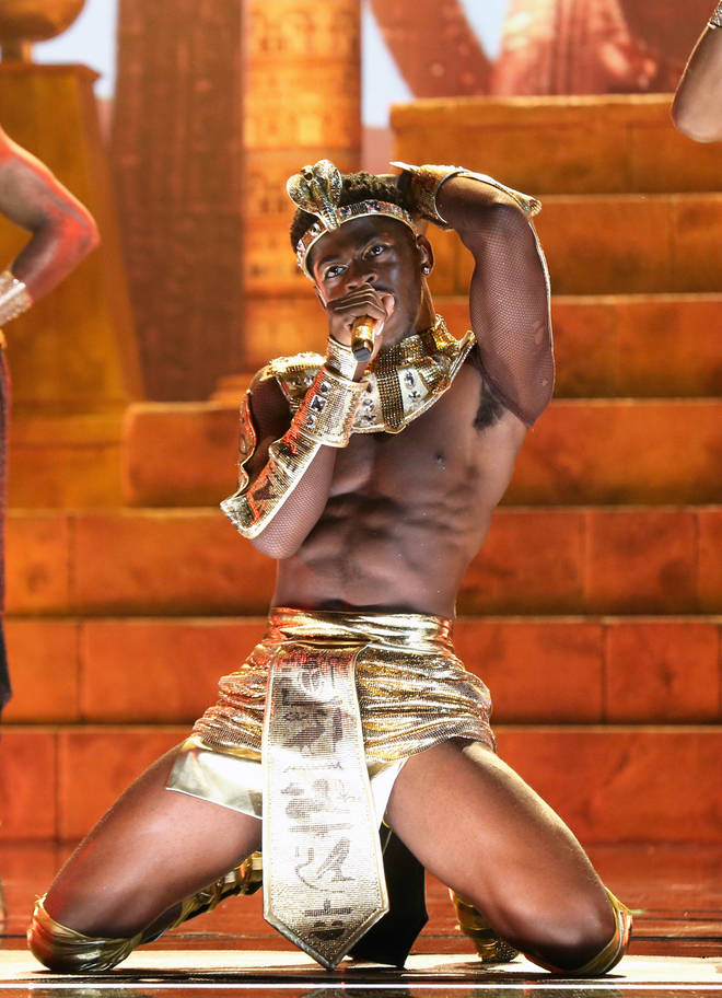 Lil Nas X performed in an Egyptian themed outfit