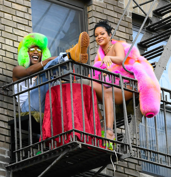 Rihanna and A$AP Rocky were spotted on the set of a music video shoot