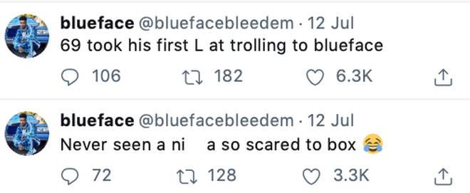 Blueface taunts Tekashi 6ix9ine on Twitter.