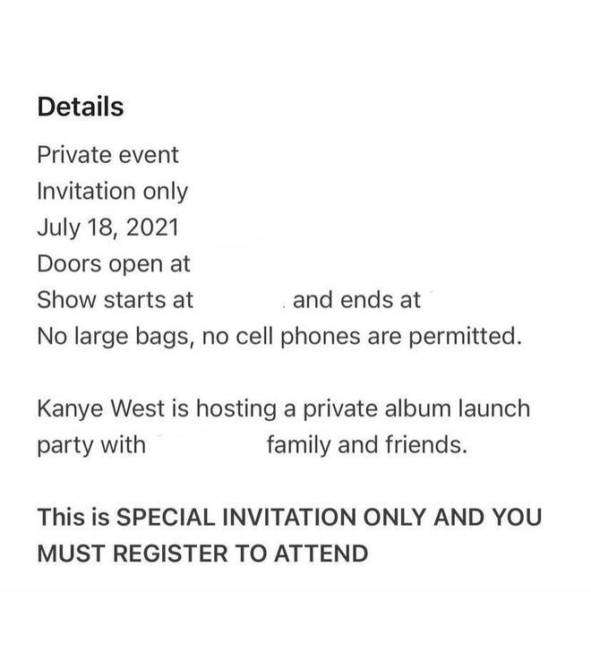 """The invitations described a """"private album launch with family a friends""""."""