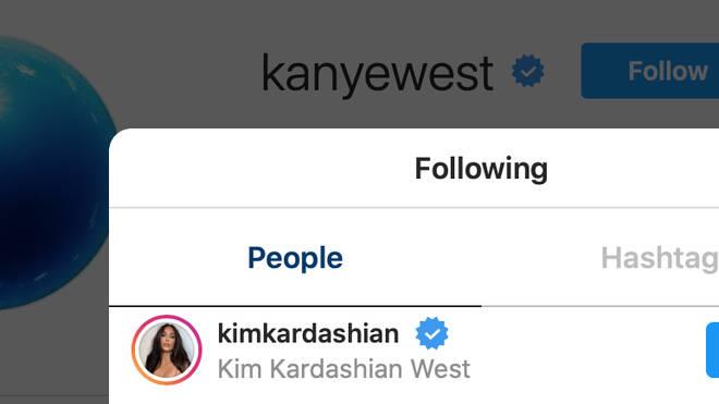 Kanye still only follows Kim Kardashian