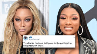 Tyra Banks hilariously roasted for wearing formal gown in hot tub with Megan Thee Stallion