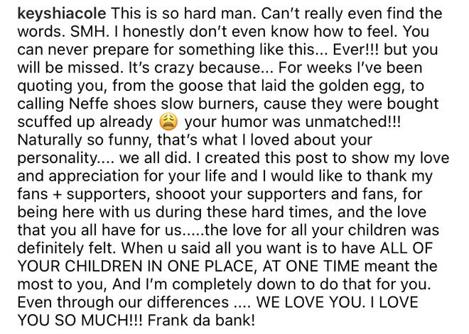 Keyshia Cole pays tribute to her mother Frankie Lons in a touching Instagram post.