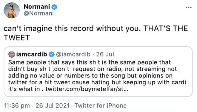 Normani lets her fans know her appreciation of Cardi B's collaboration on her track 'Wild Side'.