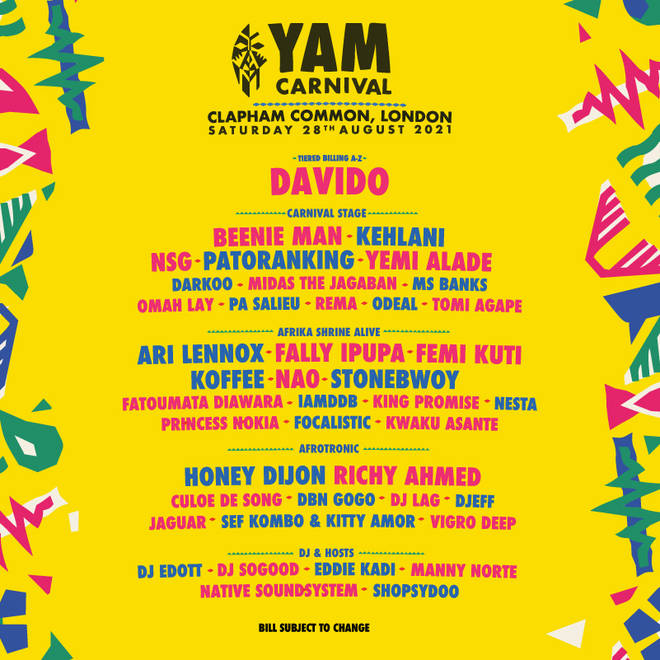 The Yam Carnival 2021 lineup is looking fresh.