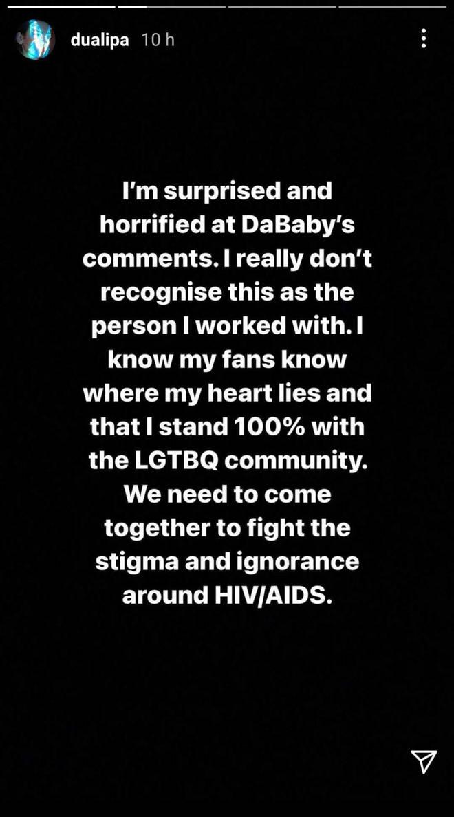 Dua Lipa spoke on DaBaby's Rolling Loud comments