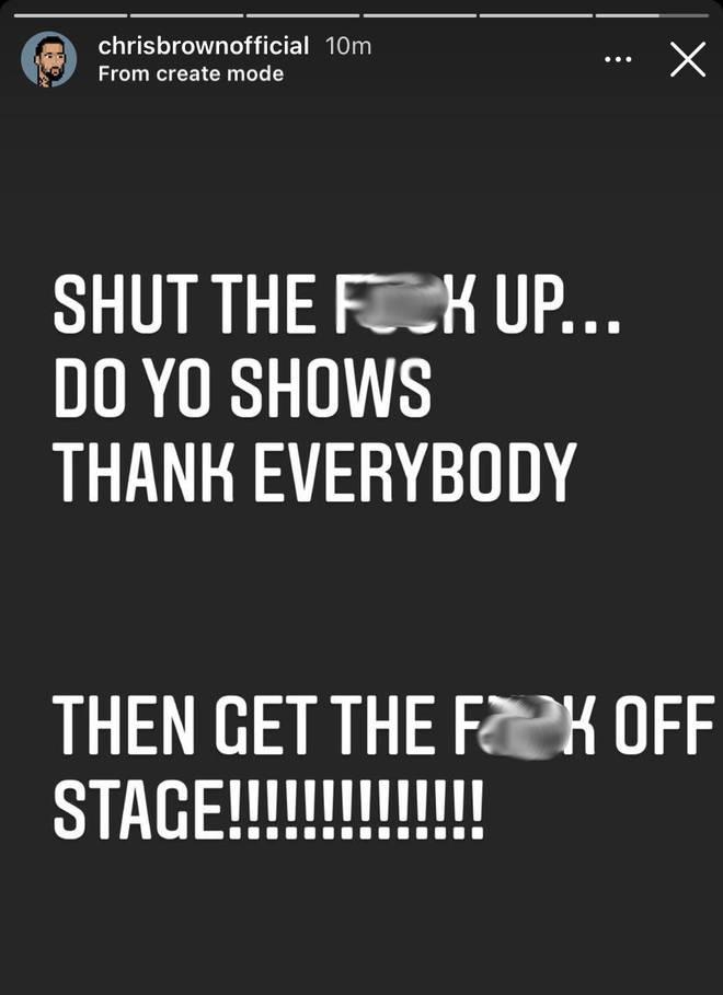 Chris Brown slammed DaBaby on his Instagram story