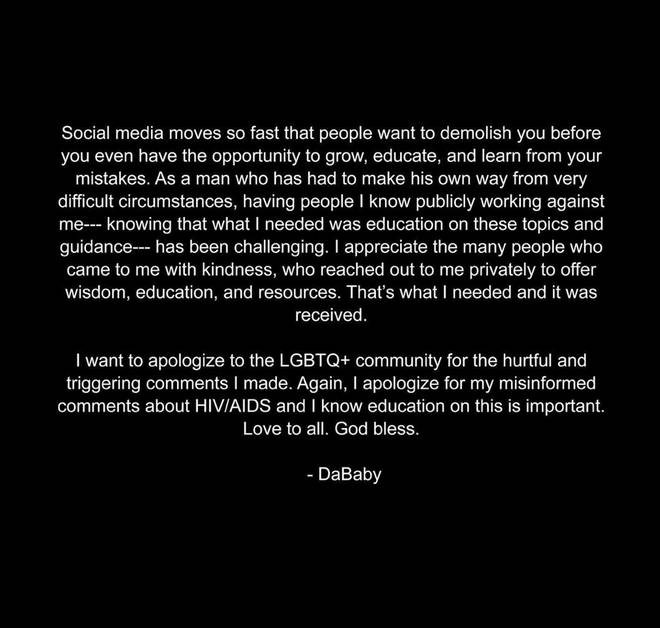 DaBaby apologises to the LGBTQ+ community following his homophobic comments.