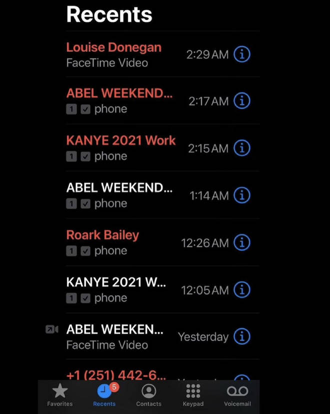 Kanye West shares a screenshot of his phone call list, showing The Weeknd and himself have been in talks.