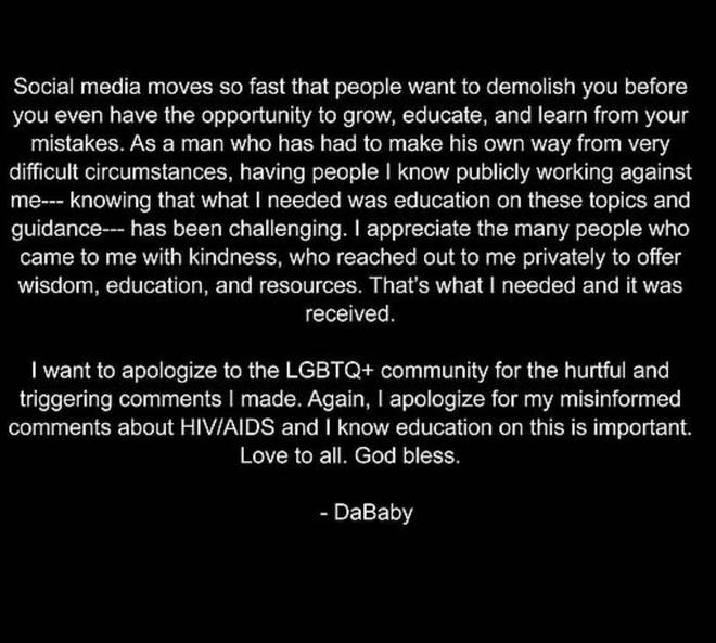 DaBaby issued an apology to the LGBTQ+ community following his homophobic comments on Aug 2.