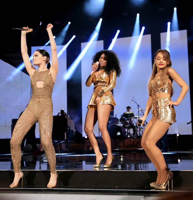 "Jessie J, Nicki Minaj and Ariana Grande perform their hit ""Bang Bang"" at the 2014 American Music Awards."