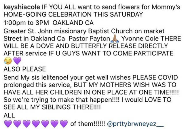 Keyshia Cole announces home-going celebration for her late mother.