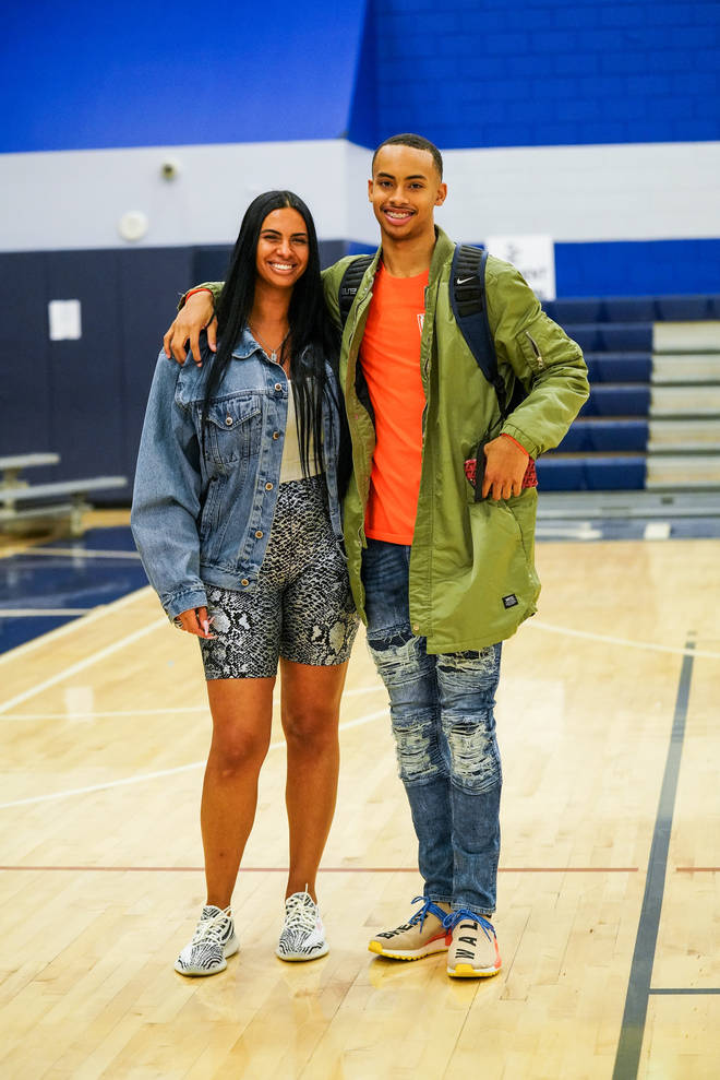 Johanna Leia (L) and son Amari Bailey (R) pose for a photo after the Sierra Canyon vs Mayfair game in Jan 2019.