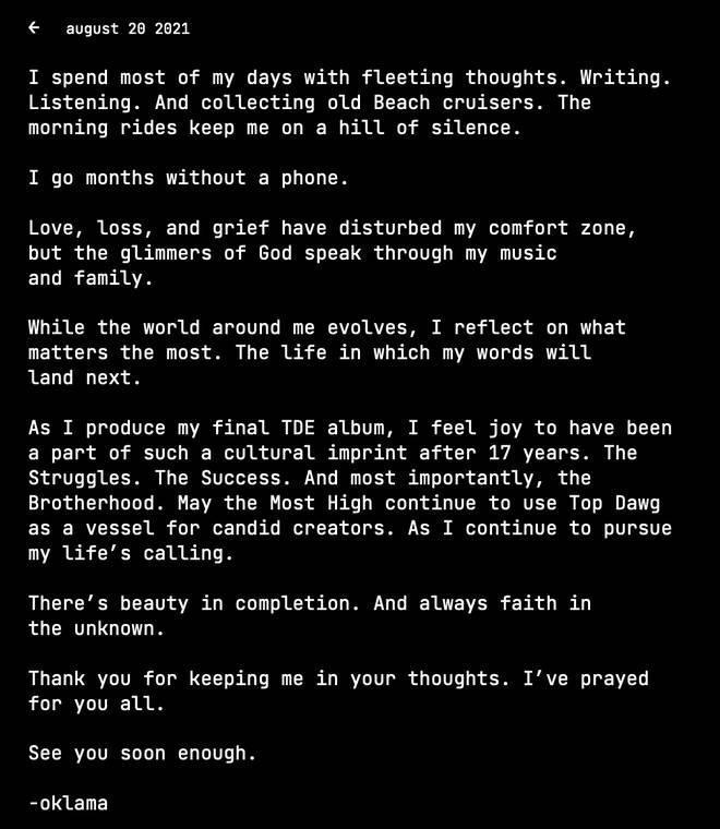 "La carta de Kendrick promete música ""pronto"""