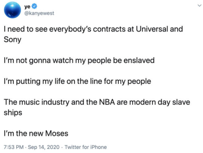 In 2019, Kanye West went against UMG in a series of tweets.