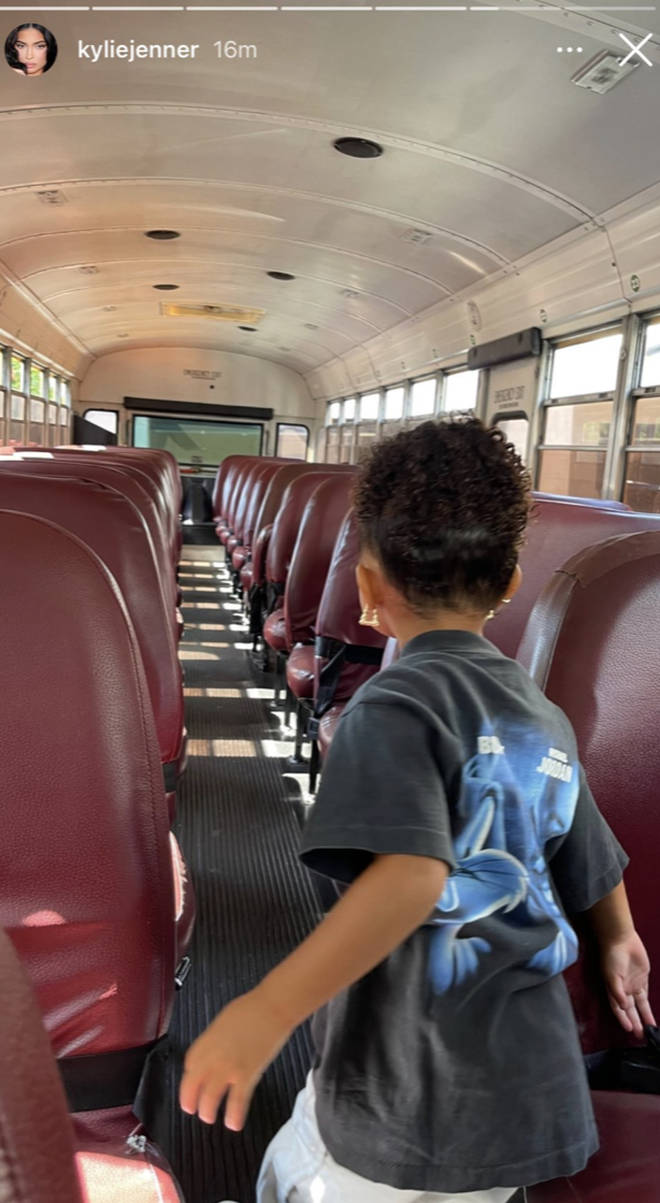 Kylie Jenner shares a photo of Stormi on the yellow school bus.