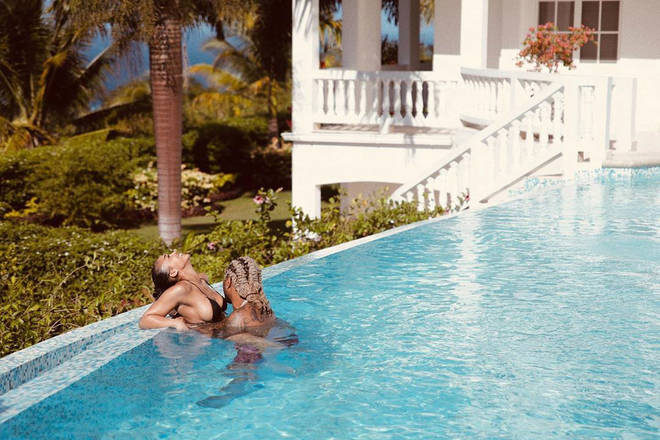 The pair posted pictures from Jamaica