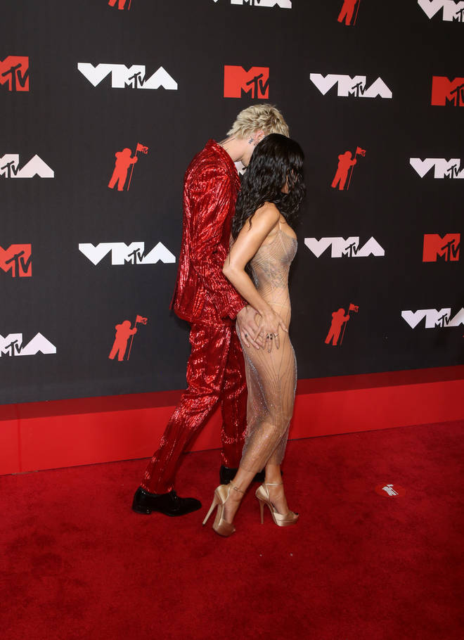 Megan Fox and Machine Gun Kelly walk the red carpet at the 2021 VMAs
