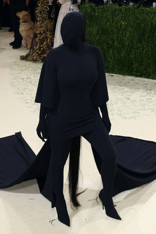 The star wore a blacked-out look