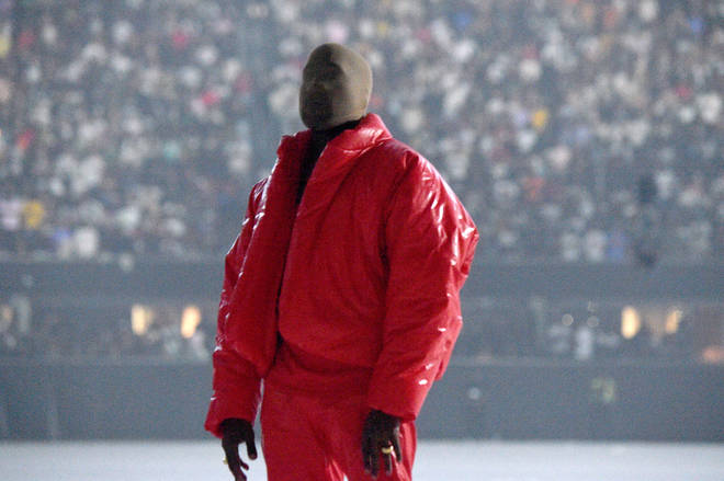 Kanye covered his face during his 'DONDA' listening events