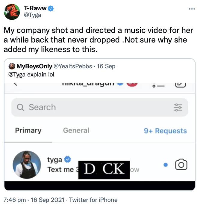 Tyga responds to Nikita leaking his DM.