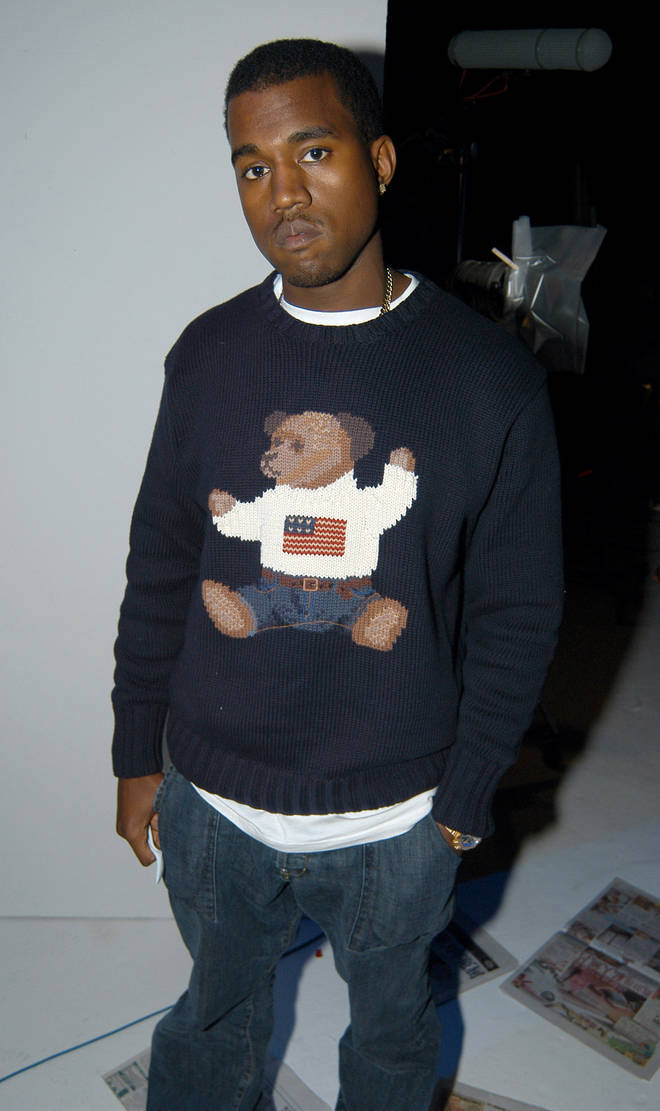 """Kanye West pictured at his """"College Dropout"""" video shoot"""