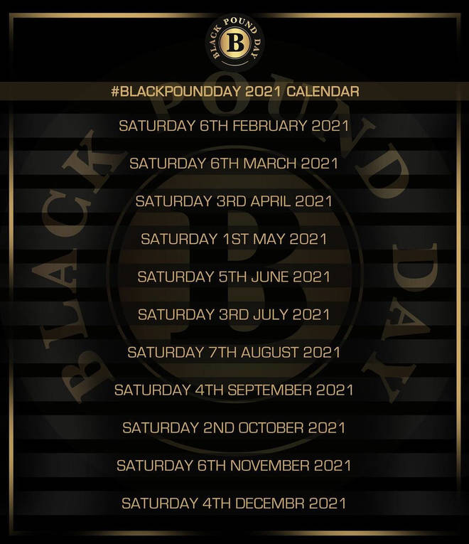 Black Pound Day Calendar