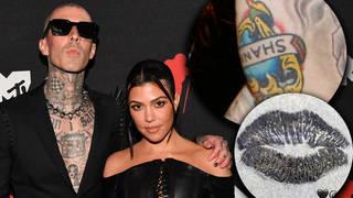 Travis Barker covers tattoo of ex's name with Kourtney Kardashian's lips