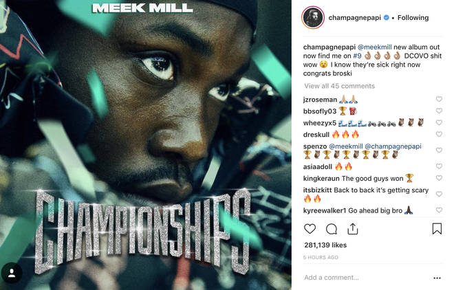 Drake promoted Meek's new album on social media.