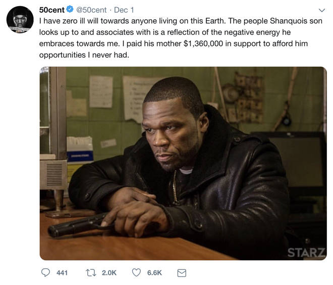 The rapper claims to have supported his son.