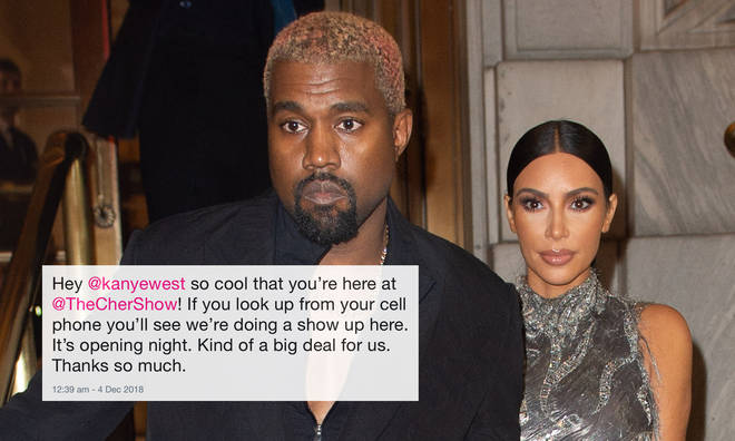 Kanye West and his wife Kim Kardashian attend The Cher Show on Broadway.