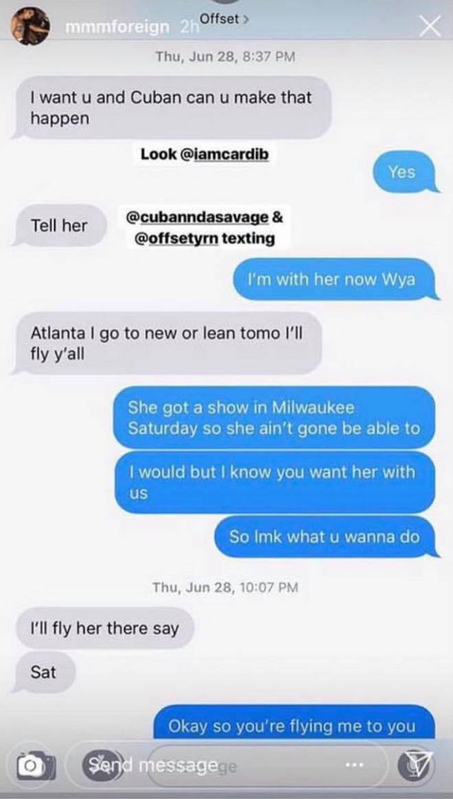 Leaked messages appear to show a conversation between Offset attempting to arrange a threesome