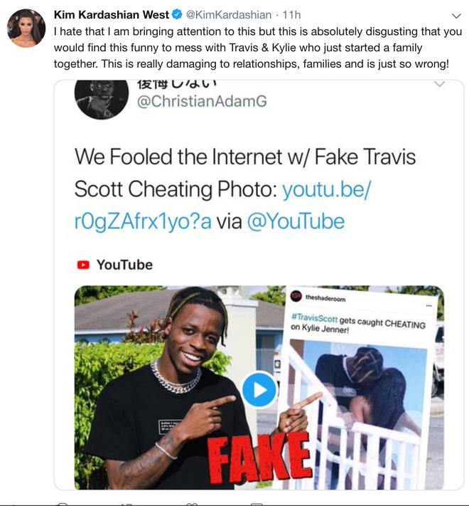 Kim Kardashian slams fake Travis Scott cheating picture