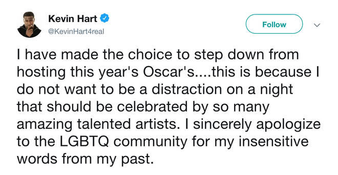 Kevin Hart apologised to the LGBTQ community for historic homophobic tweets