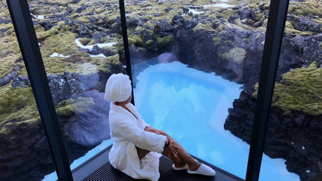 Chyna relaxes by her window in Iceland.