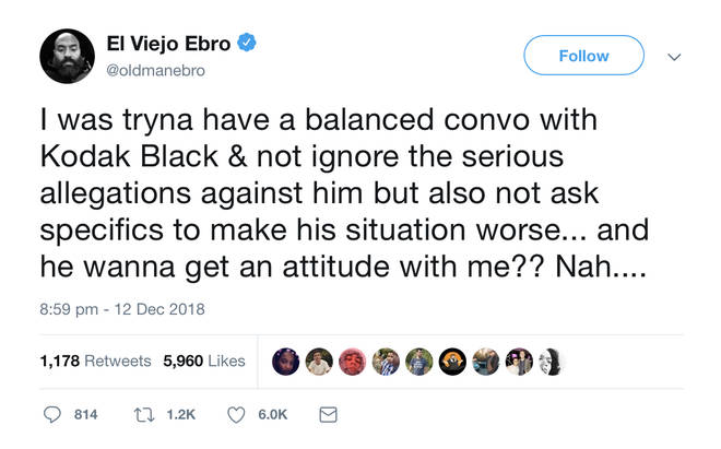 Ebro commented on the incident in Twitter.