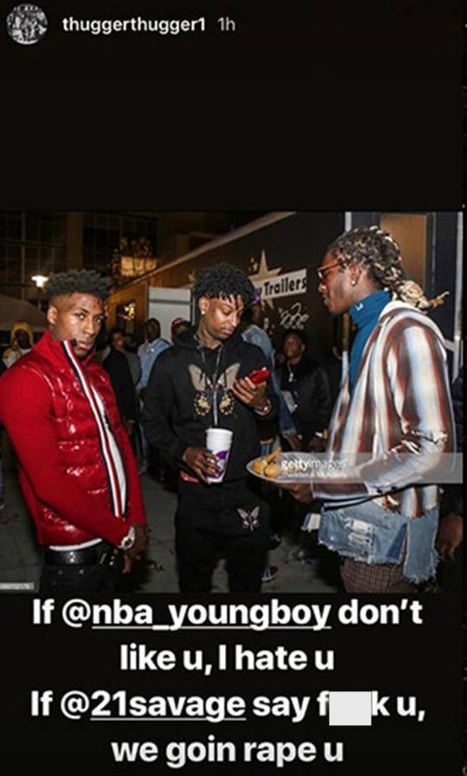 Young Thug, 21 Savage and NBA YoungBoy all appear alongside the disturbing caption.