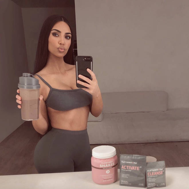 Kim Kardashian took to Instagram to promote Flat Tummy Co.