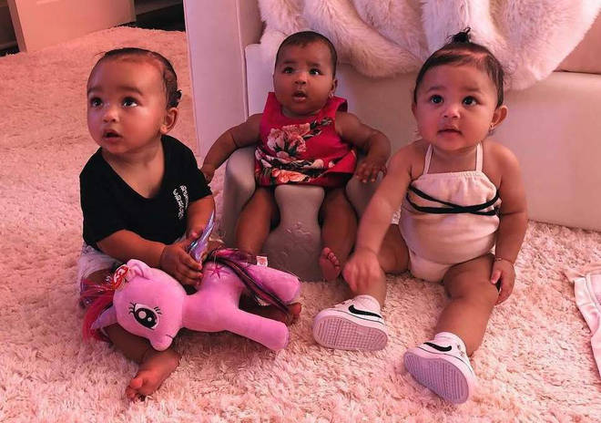 From left to right: Chicago West, True Thompson, Stormi Webster.