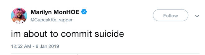 Cupcakke shared a post about comitting suicide on Twitter