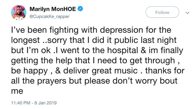 Cupcakke tells fans she's been struggling with depression