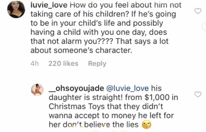 6ix9ine's girlfriend hits back at hater on Instagram