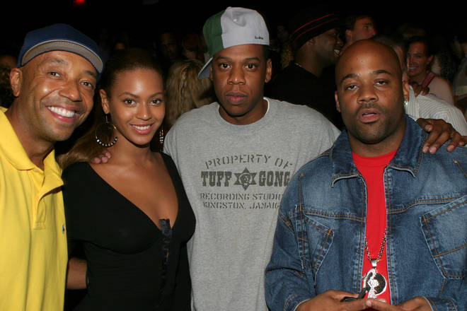 Russell Simmons, Beyonce Knowles, Jay-Z and Damon Dash (Photo by Johnny Nunez/WireImage)